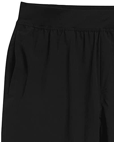 Amazon Essentials - Pantalones cortos elásticos tejidos de deporte para hombre, Negro, US L (EU L)