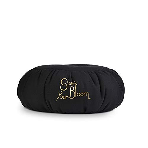 SparkYourBloom Cojin de meditación Yoga Zafu Refuerza Cojín Mindfulness | Beanbag Relleno de Perlas de poliestireno 100% | Ayudante de Postura | Lavable a máquina (Negro)