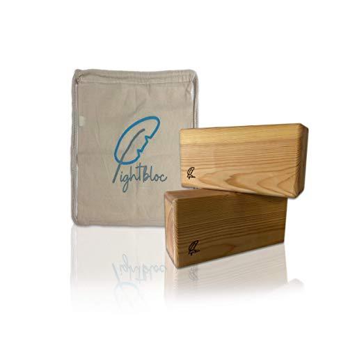 lightbloc Bloque de Yoga de Madera Super Ligero - Made in BCN - Pack 2 Unidades - para Hacer Ejercicios apoyar y profundizar posturas - Hecho a Mano - Accesorios - Ladrillo-Tacos Yoga-Pilates