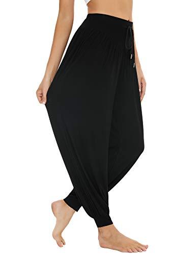 Sykooria Pantalones Deportivos para Mujer de Algodón Pantalones de Yoga con Bolsillos Pantalón de Cintura Alta Pilates Baile Jogger Ropa de Casa