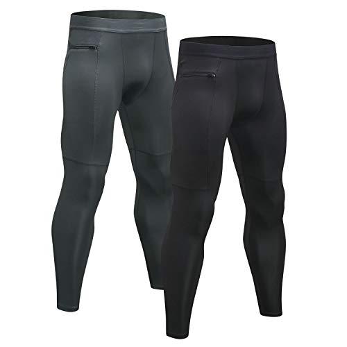 Niksa 2 Piezas Mallas Hombre Running Leggings Deporte Pantalones Largos de Compresión Negro Gris Medium
