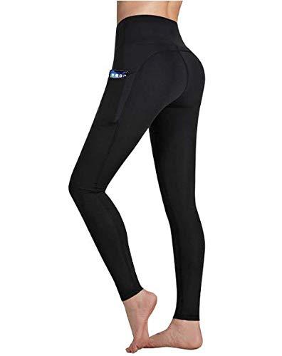 Occffy Cintura Alta Pantalón Deportivo de Mujer Leggings Mallas para Running Training Fitness Estiramiento Yoga y Pilates DS166 (Negro, M)
