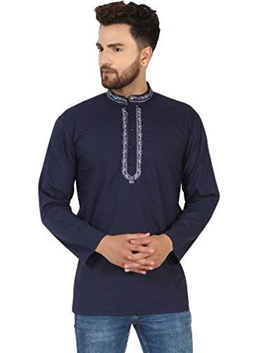 SKAVIJ Camisa Corta Kurta De Algodón para Hombre, Túnica De Cuello Redondo, Ajuste Regular (Azul, M)