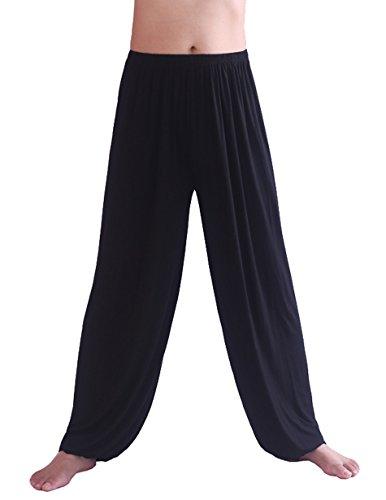 Hoerev Pantalón ancho de Yoga para hombre, de Spandex muy suave, para pilates - negro - XXX-Large