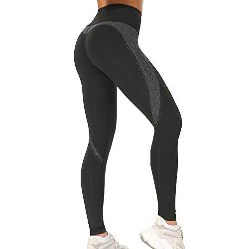 Leggings de Entrenamiento, Leggings de Yoga para Mujeres, Pantalones Deportivos de Spandex, Gimnasio. (Negro A Largo, M)