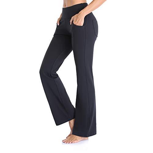 Vimbloom Pantalones de Yoga Bootcut para Mujer Largo Pata Anchos Pantalón de Piltes Cintura Alta Deportivos Leggins con Bolsillos para Yoga Fitness VI490(Negro,XXL