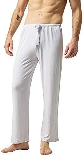 ZSHOW Pantalones de Yoga Suaves Largos Pijama Bolsillos Inclinados de Punto Hombre Blanco Small