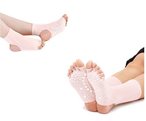 SANIQUEEN.G Calcetines de Dedos Separados para Yoga, Pilates y Baile, en Algodón 90%, sin Dedos y sin tobillero, para Hombre y Mujer, Tallas hasta la 41 (Beige)