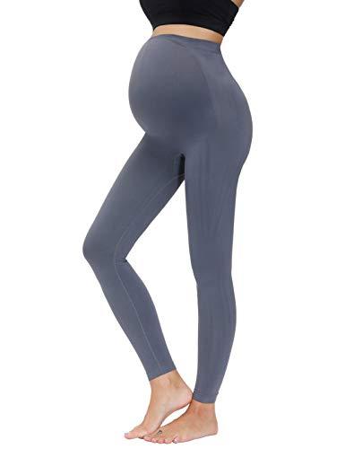 Maacie Premamá Pantalones Deportivos de Yoga sin Costura para Mujer XL Gris