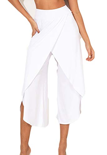 FITTOO Pantalones De Yoga Sueltos Cintura Alta Mujer Pantalones Largos Deportivos Suaves y Cómodos1080#4 Blanco L