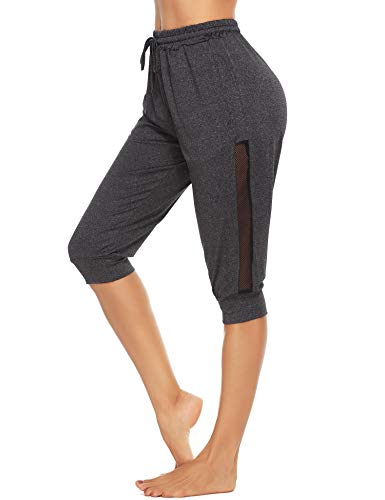 Doaraha 3/4 Pantalones Deporte para Mujer Pantalones Piratas Casual Pantalones Capri con Cordón para Running,Yoga,Correr,Fitness,Danza
