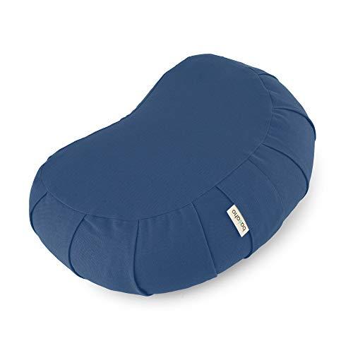 basaho Crescent Zafu Cojín de Meditación | Algodón Orgánico (Certificación Gots) | Cáscara de Trigo Sarraceno | Funda Extraíble Lavable (Azul Empolvado)