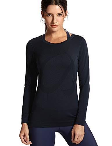 CRZ YOGA Mujer Ropa Deportiva Sports Casuales Camiseta Malla sin Costura Manga Larga Negro 38