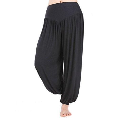 Hoerev - Pantalón tipo harén para yoga o pilates, tejido elástico de modal muy suave, Negro, 3X-Large