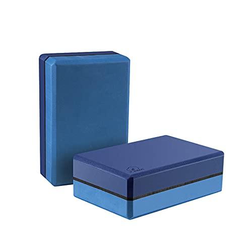 YUNMAI Bloque Yoga de Espuma EVA 2 pcs, Set de Ladrillos de Yoga de Alta Densidad Antideslizante suavecito No Tóxico para Mejorar Fuerza Flexibilidad Equilibrio de Pilates Yoga Meditación, Azul