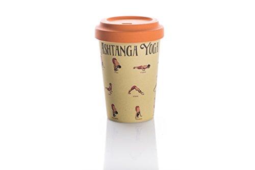 Taza de cafe para llevar termica Bamboo Cup'Posturas Yoga'
