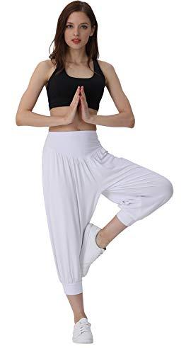 Hoerev - Pantalones capri para mujer, muy suaves, modales, elastano, para yoga, pilates, capri - Blanco - XXL
