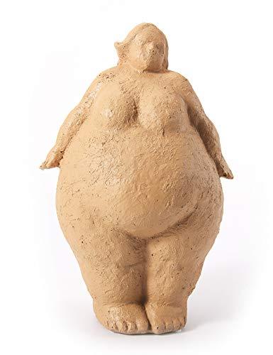 Amoy-Art Figura Mujer Decorativa Escultura Yoga para Hogar Regalos Niños Cumpleaños Poliresina Blanco 27cmH
