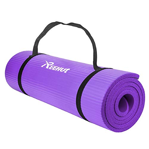REEHUT - Esterillas de yoga extragruesas de caucho de nitrilo de alta densidad de 12 mm con correa de transporte, colchoneta multiusos para ejercicio, fitnes, pilates y entrenamiento, color morado