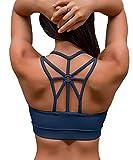YIANNA Sujetador Deportivo Mujer con Relleno Top Yoga Running Alto Impacto Sujetadores Deportivos sin Aros Azul, YA139 Size 2XL