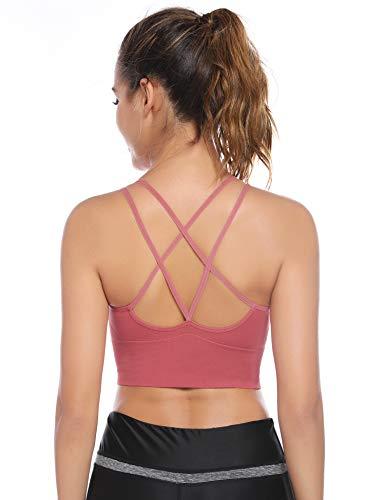 Sykooria Sujetador Deportivo para Mujer Sujetador de Yoga Acolchado sin Espalda con Tiras Sin Costuras con Buen Impacto Gimnasio Gimnasio Ropa Deportiva