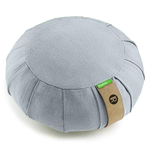 IR Rootrica. Cojín de meditación zafu redondo desenfundable, de algodón natural, un diseño elegante y un asiento óptimo para una práctica de yoga para adultos y niños (gris)