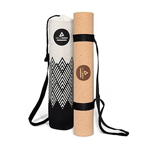 Esterilla de corcho y caucho para yoga y entrenamiento de 3mm de grosor y materiales 100% ecológicos, naturales y antideslizantesEsterilla de yoga hipoalergénica con bolsa de lino incluida.