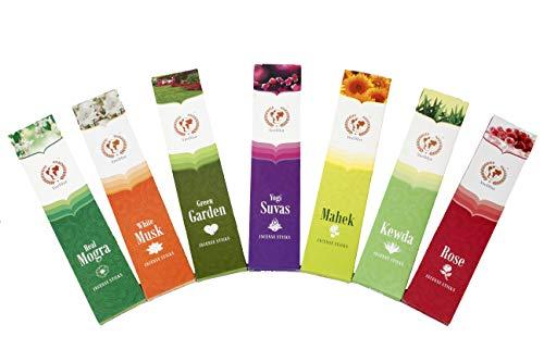 VeeDInt Varillas de incienso de alta calidad | Real Mogra, almizcle blanco, jardín verde, yogui Suvas, Mahek, Kewda, rosa, perfumadas y coloreadas, paquete de 7