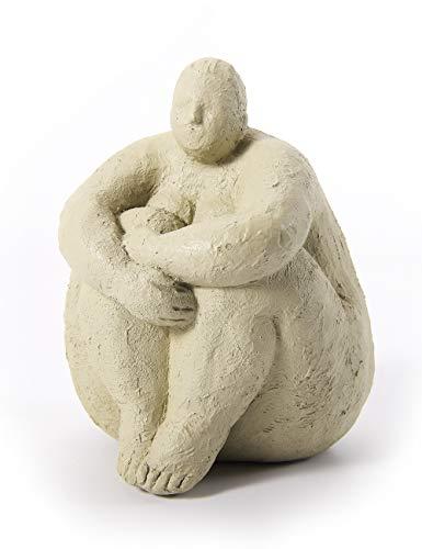 Amoy-Art Figura Mujer Decorativa Escultura Yoga para Hogar Regalos Niños Navidad Poliresina Blanco 18cmH