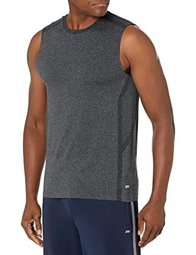 Amazon Essentials - Camiseta sin costuras ni mangas para correr para hombre, Negro Heather, US XS (EU XS)