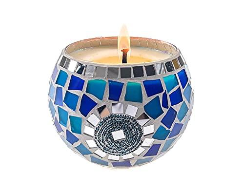 Frespersy Vela aromática en tarro de cristal regalo para mujeres, gran decoración para el hogar, cera de soja natural para aromaterapia, cumpleaños, bodas, yoga (azul océan)