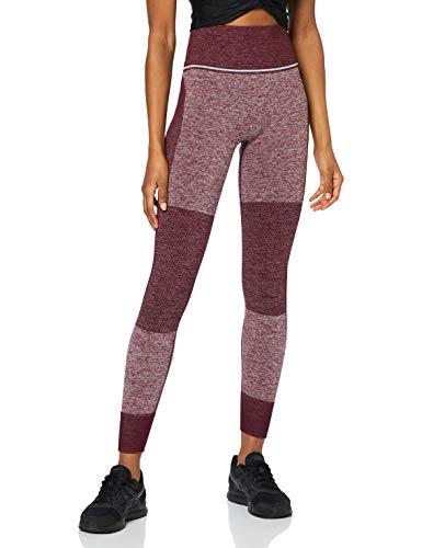 Marca Amazon - AURIQUE Mallas de Deporte sin Costuras de Tiro Alto Mujer, Rojo (Port Royale), 42, Label:L