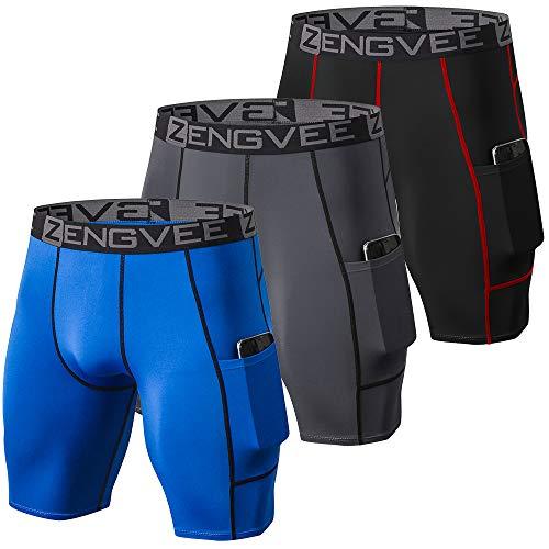 ZENGVEE 3 Piezas Pantalones Cortos Hombre Deporte de Secado Rápido para Running Hombres Deporte para Gym, Yoga, Running(Gray Black Blue-M)