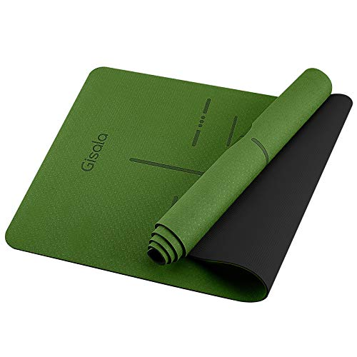 GISALA Esterilla Yoga, Esterilla Deporte Antideslizante Ecológica y 100% Natural de 183x61cm, 6mm de Grosor, No tóxico, para Pilates,Fitness (Green)