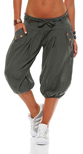 Malito Mujer Corto Bombacho Pantalón con Cinturón Baggy Aladin Yoga Pants 3416 (Oliva)