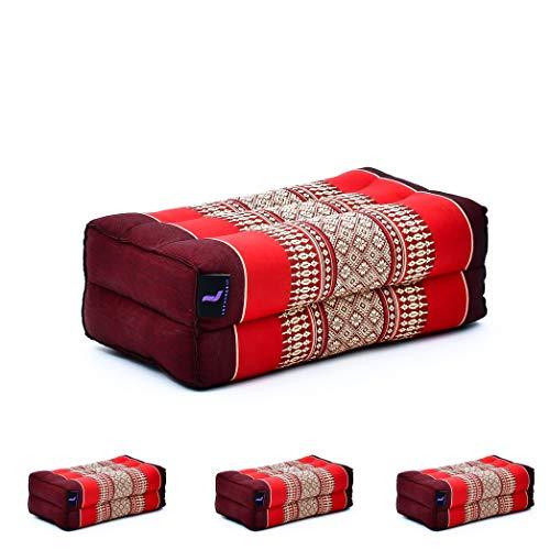 Leewadee Set de 4 Bloques de Yoga pequeños – Cojines para Pilates, Almohadas para el Suelo Hechas a Mano de kapok, 35 x 18 x 12 cm, Set de 4, Rojo