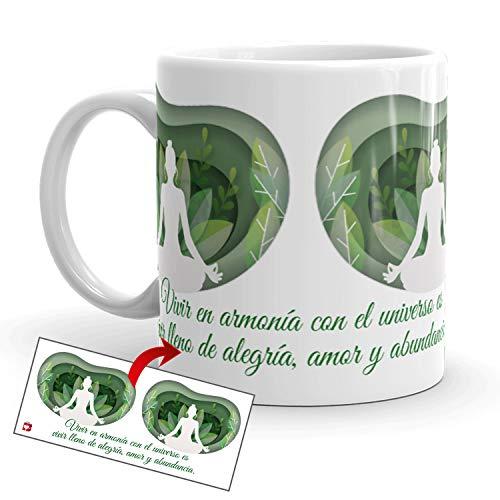Kembilove Tazas de café diseño de Yoga – Taza de café Inspirada en Buda y Abundancia – Taza de Cerámica Duradera con Diseño Espiritual – Tazas Coloridas para Té y Café – Tazas de 350 ml