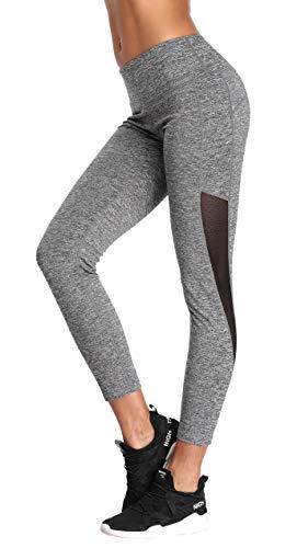 Eono Essentials Women's Mesh Yoga Pants (Grey, Small)
