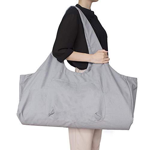 Bolso grande con cremallera para esterilla de yoga, bolsa con correa de transporte de yoga, bolsa de lona de algodón, 2 bolsillos adicionales para 2 alfombrillas de yoga, 2 toallas,gris
