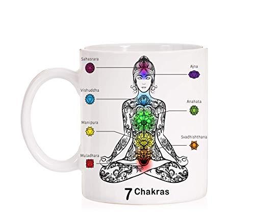 FUNNY CUP Taza 7 Chakras. Taza para el Yoga, meditación, relajación. Taza Amantes de la Vida Espiritual.