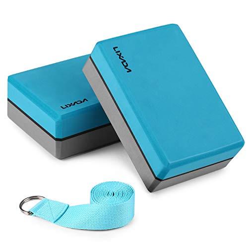 Lixada 2PCS Bloque de Yoga + Cinturón de Yoga, Ladrillo de Yoga de Espuma EVA Deportiva para Entrenamiento de Fuerza Flexible del Cuerpo