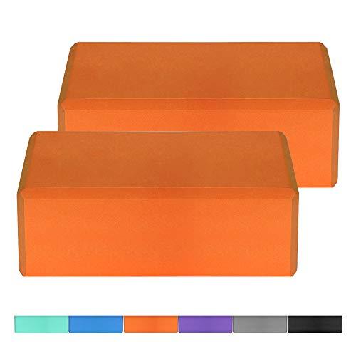 Lixada 1PCS / 2PCS EVA Yoga Blocks,Bloque de Espuma Correa Superficie Antideslizante sin Látex para la Meditación Yoga Pilates (Naranja, 1Pcs)