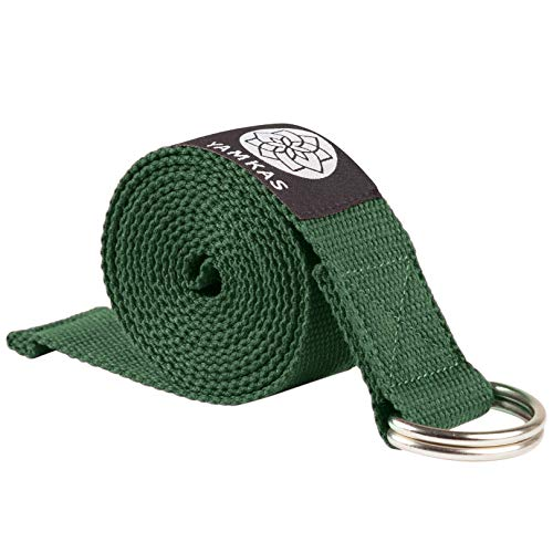 Yamkas Cinturon Yoga Correa | 1.8m - 3M | Correas Yoga Estiramiento | Yoga Strap Belt 100% Algodon | Verde