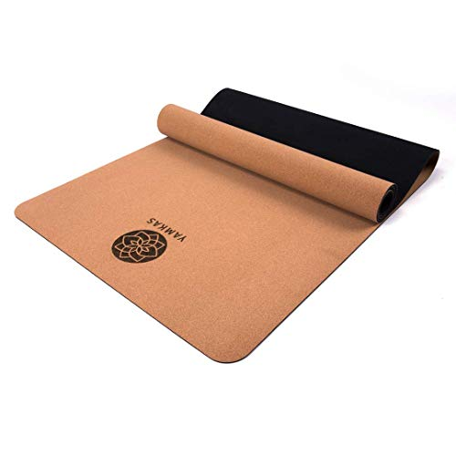 Yamkas Esterilla Yoga Corcho Caucho Natural • 183 x 61x 0.4 cm • Colchoneta Naturales y Antideslizante • Esterillas Fitness Deporte • Yoga Mat Cork Rubber