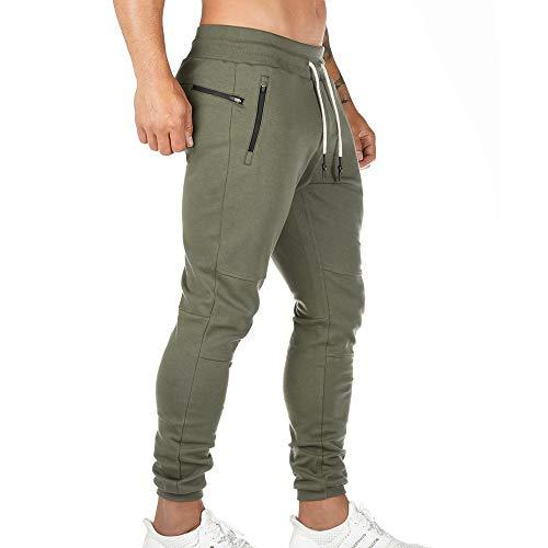 Litthing Pantalones Deportivos para Hombre Pantalones Jogger Deportivo Entrenamiento Fitness Pantalones Casual Deporte Slim Fit Cintura Elástica Ajustable (Verde, M)