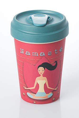 Taza de cafe para llevar con diseño Namaste (Yoga Love)