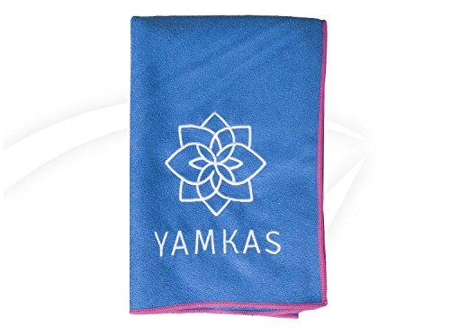 Yamkas Toalla Yoga Antideslizante • Microfibra • 183 x 61 cm • Absorvente del Sudor • Secado rápido • Compacta Towel para Esterilla Deporte • Azul