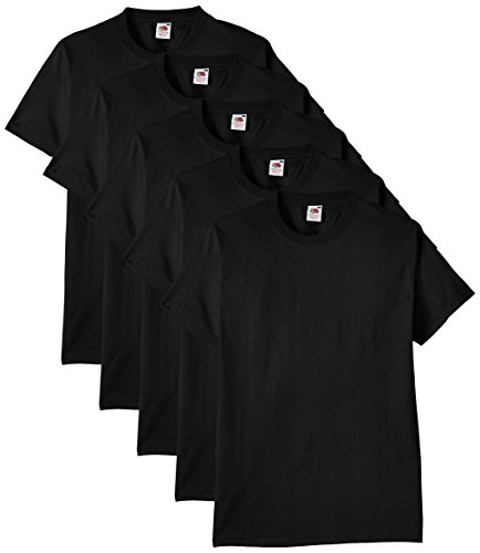 Fruit of the Loom Heavy Cotton tee Shirt 5 Pack Camiseta, Negro, Large (Pack de 5) para Hombre