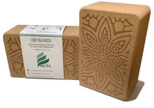 Món Bloque de Yoga de Corcho 100% Natural (Set de 2 Unidades) - Ladrillo Taco Yoga Block (Kit 2 Piezas) - Bloques Accesorios - También para Pilates y Fitness (Compact)