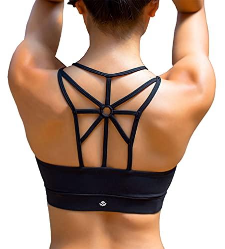 YIANNA Sujetador Deportivo Mujer con Relleno Extraíble Top Sujetadores Deportivos Yoga sin Costuras Negro, YA139 Size S